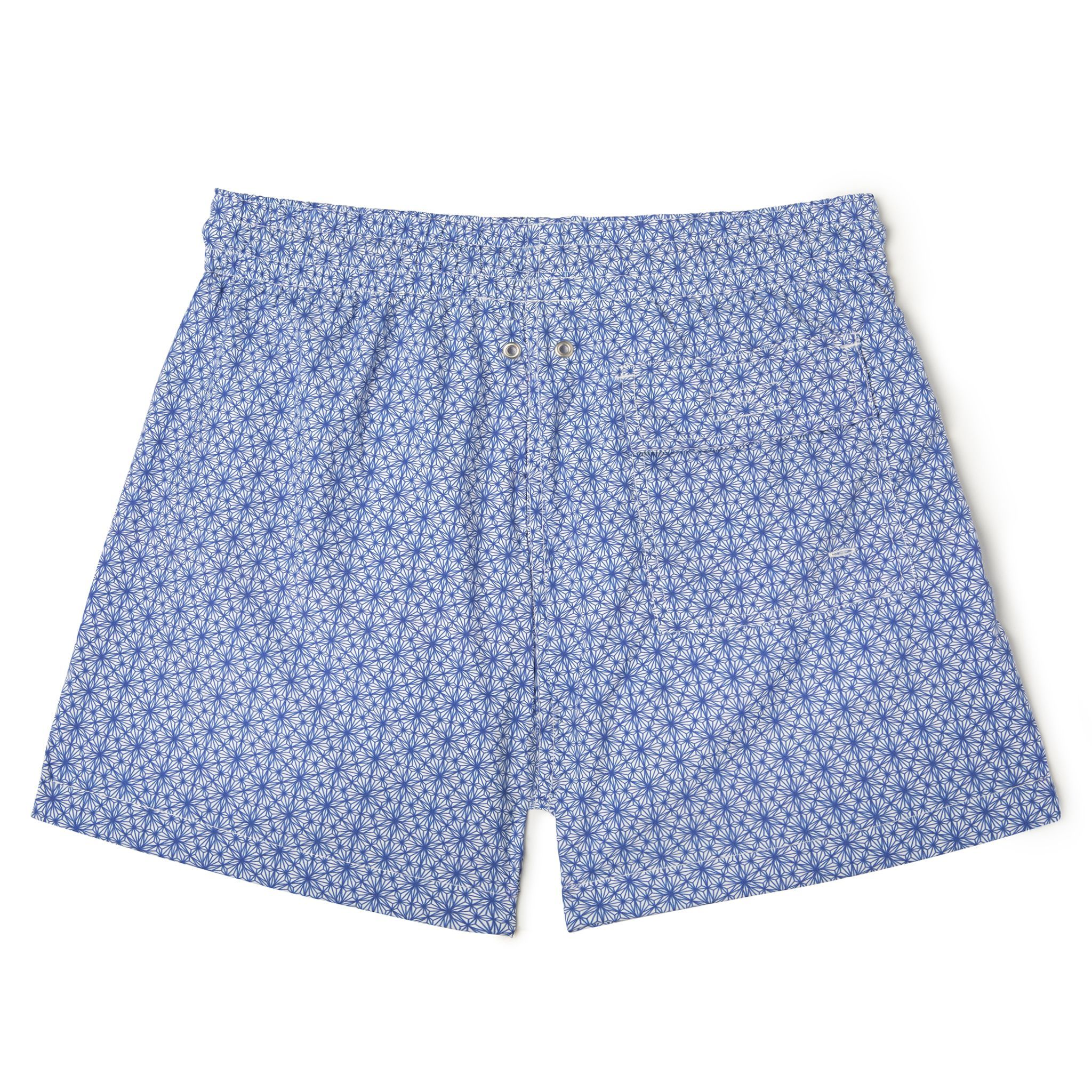 Short-Length Swim Shorts Blue on White Trochutmetrics