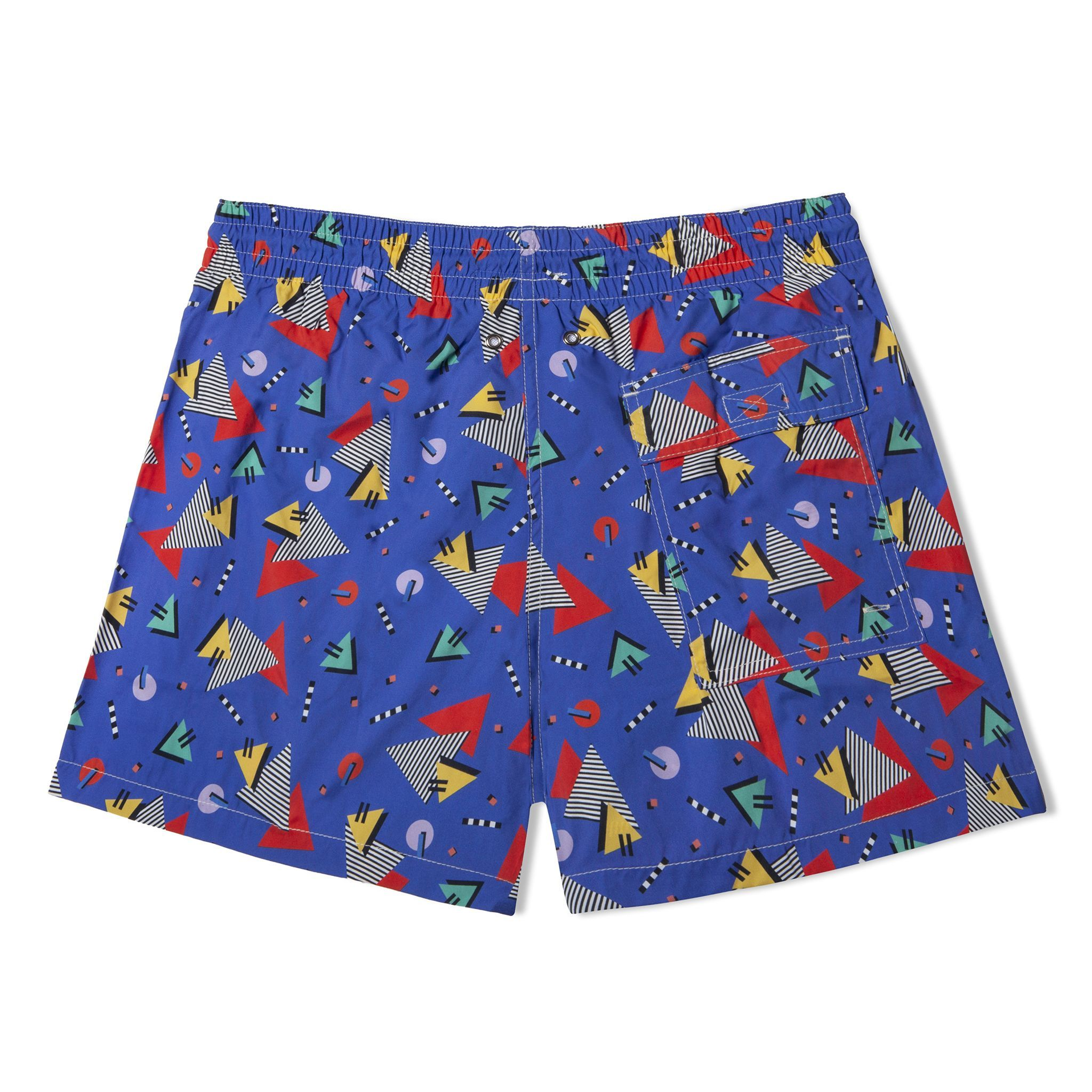Short-Length Swim Shorts Blue Miami Vice