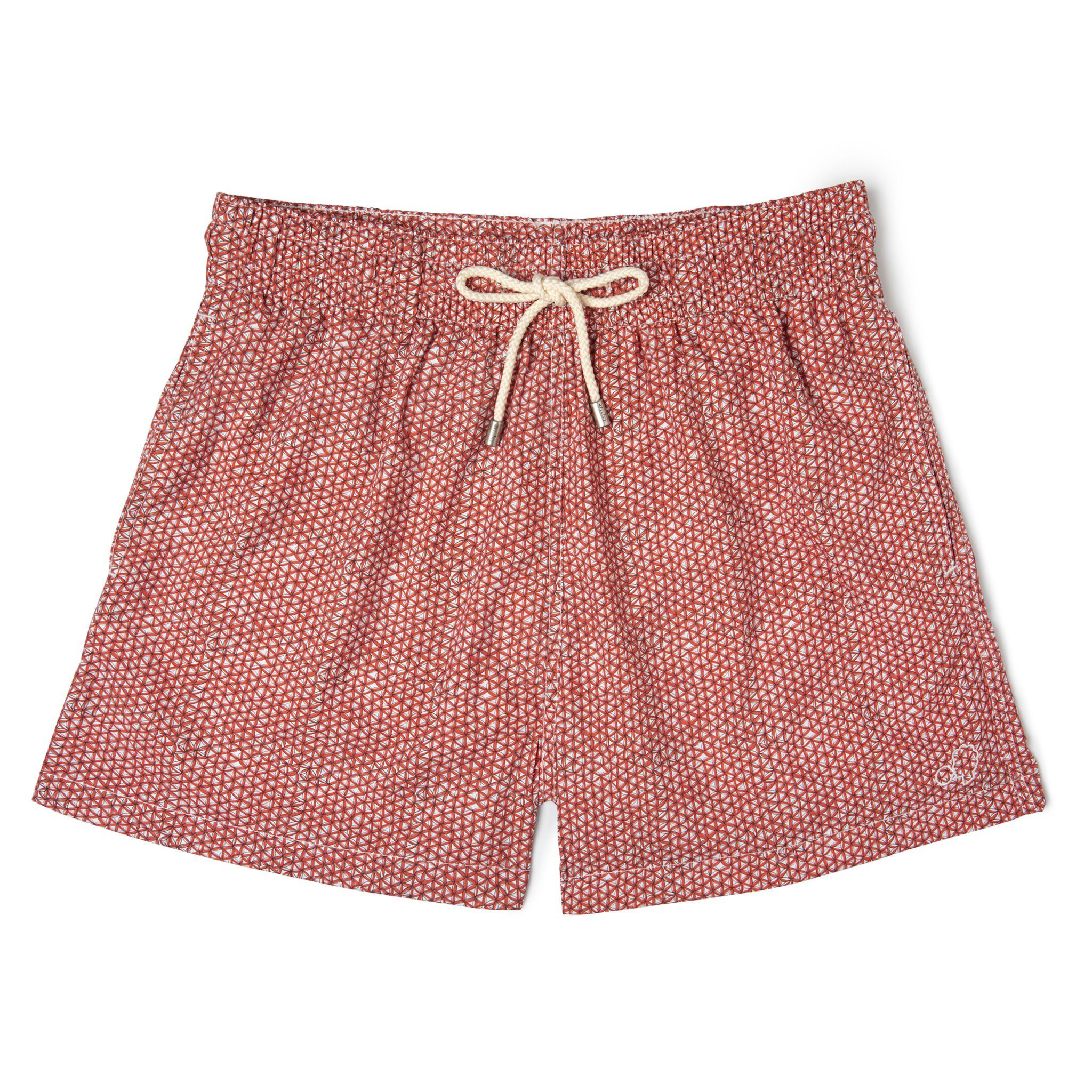Short-Length Swim Shorts Red Net