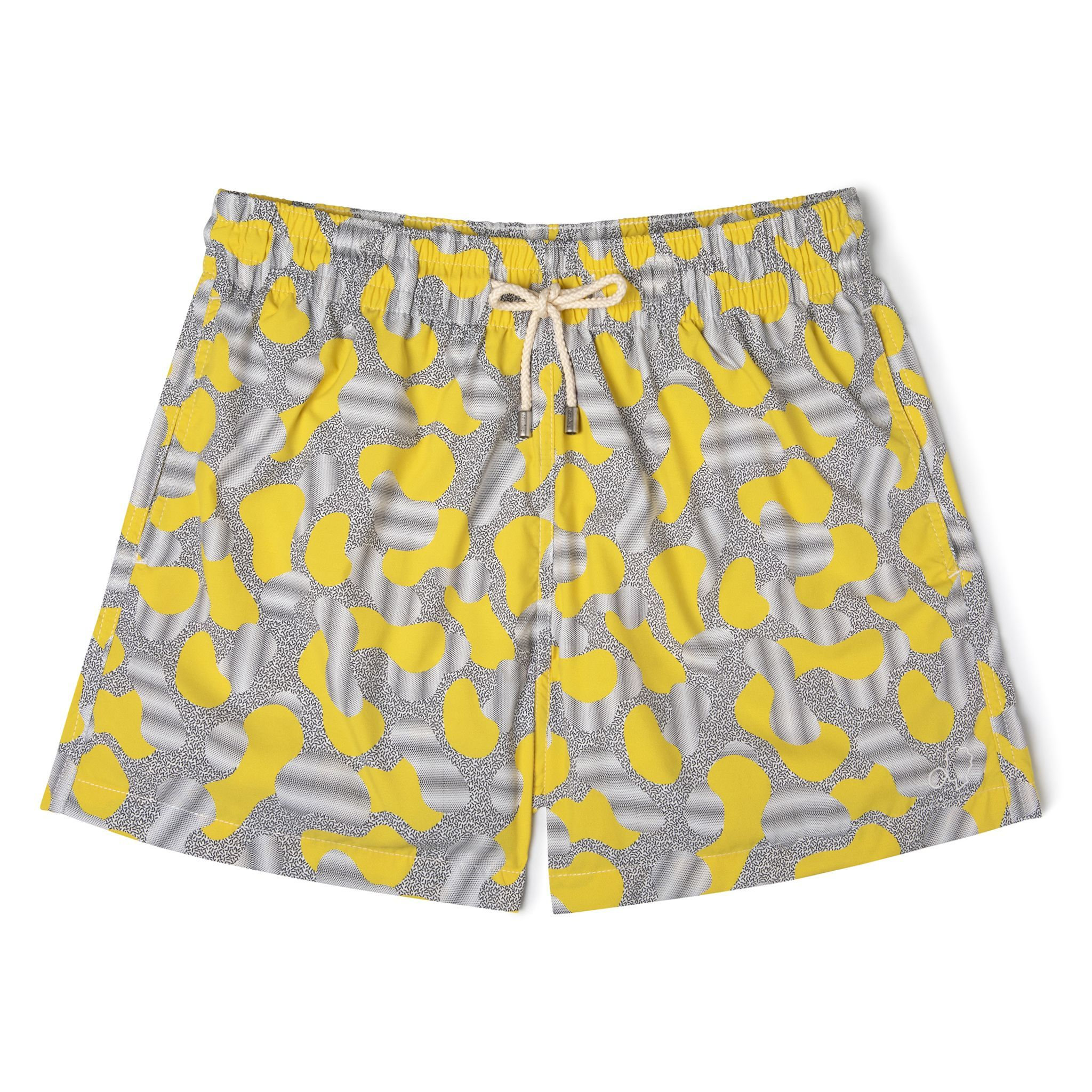 Short-Length Swim Shorts Yellow Dots