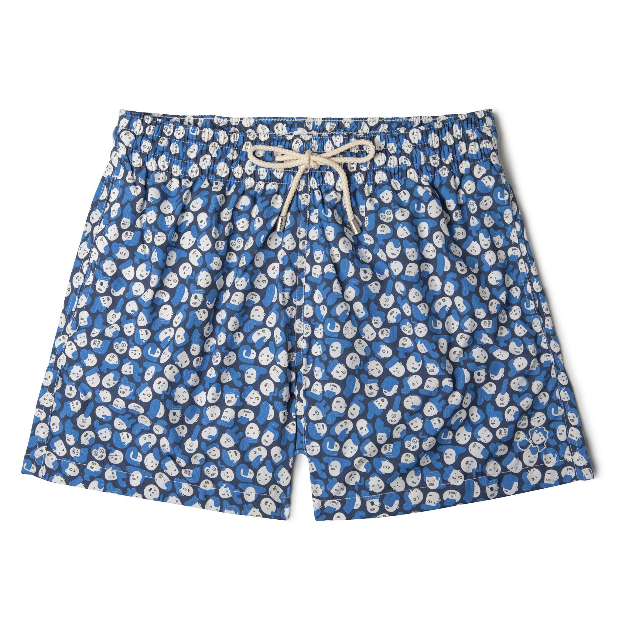 Short-Length Swim Shorts Blue Faces
